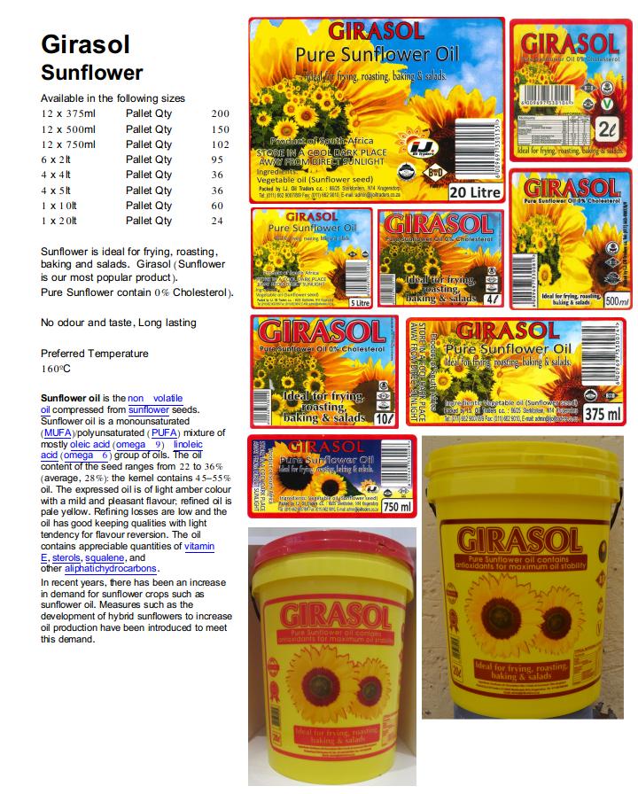 Girasol pure Sunflower cooking oil